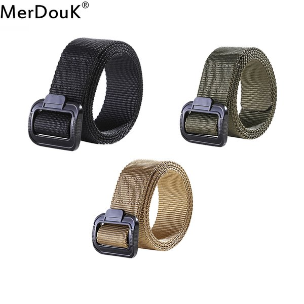 Mens Nylon Belt Casual Knitted  Belt Tactical Inner Army Style Smooth Metal Buckle