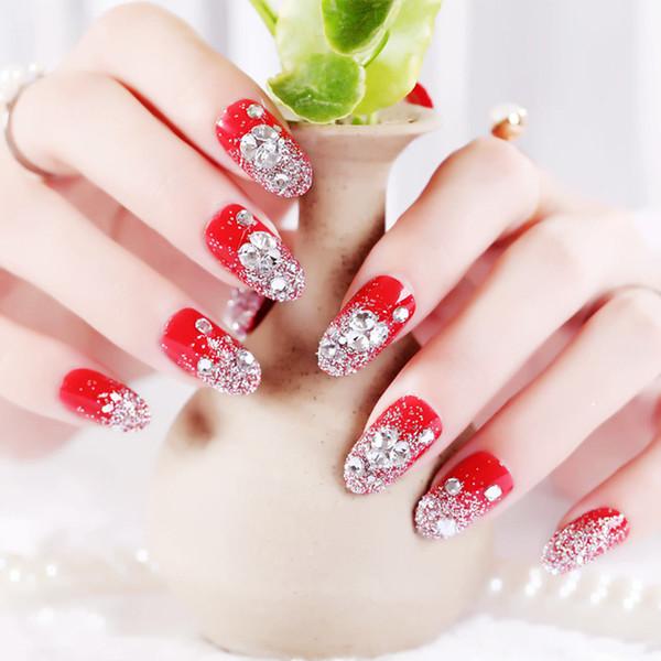 2018 Full Beauty 24pcs Red Faux Nails Bride Faux Ongles Paillettes Ongles Conseils Avec Colle Nails Art Accessaries