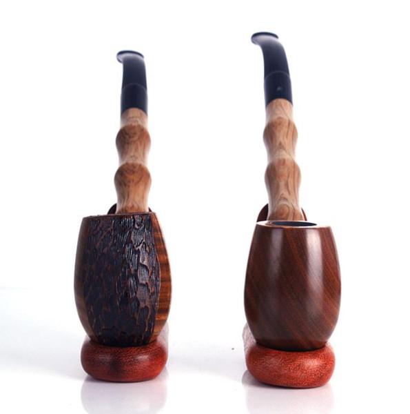 Una variedad de grabado especial, Tallado Verde Sándalo Tubo Barra larga Barba Madera lisa Sólido Modelado Madera Molienda Tabaco Tabaco