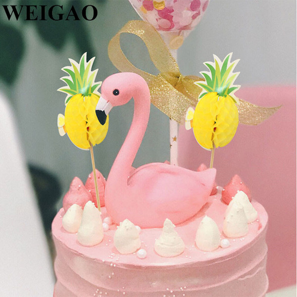 WEIGAO 1Set Birthday Party Cupcake Toppers Flamingo Pineapple Cupcake Decoration Baby Shower Party DIY Cake Decor Supply