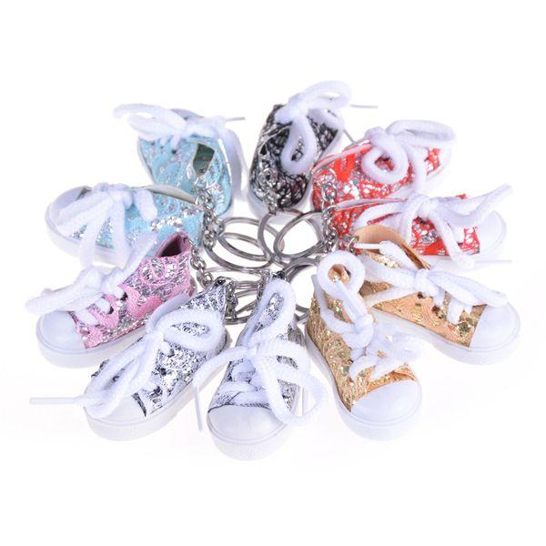 Random 1PCS Mini Sequin Tennis Sports Shoe Keychain Keyring Doll Doll Accessories Funny Gifts