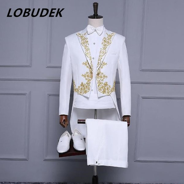 (jacket+pants) new male suit embroidery tuxedo tailcoat jacket blazer set singer team costumes Magician host slim stage wear