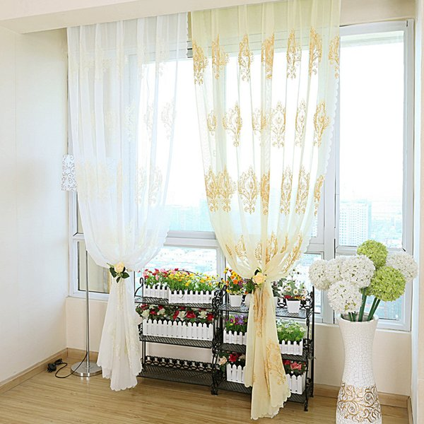 Cotton Linen Window Screening Cloth Luxury Water Soluble Screen Elegant Embroidery Lace Curtains For Living Room Sheer Voile Yarn 22 8yy jj