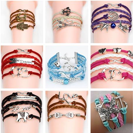 best selling Infinity bracelets Jewelry fashion Mixed Lots Infinity Charm Bracelets Silver lots Style pick for fashion people