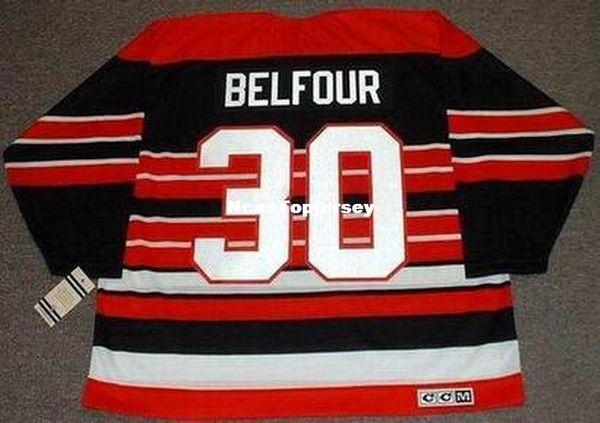 Personalizado Mens Jerseys ED BELFOUR Chicago Blackhawks 1992 CCM Vintage barato retro Hockey Jersey
