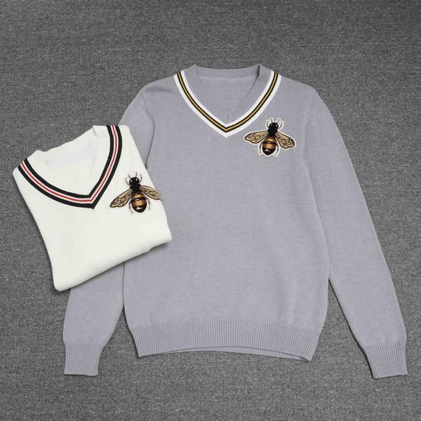 xinxinwholesale02 / Top Qualidade Pullovers Pullover High street Abelha carta imprimir Tripulação Pescoço roupas preto M004