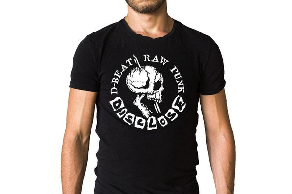 Divulgar D-Beat Raw Crânio Do Punk T-Shirt Do Logotipo Tops Legal Camiseta