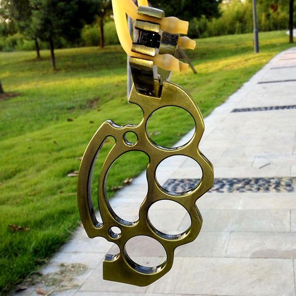 Plegable Metal Boxing SlingShot Brass Knuckle Hunting Catapult Juegos al aire libre Herramientas con caucho de alta calidad