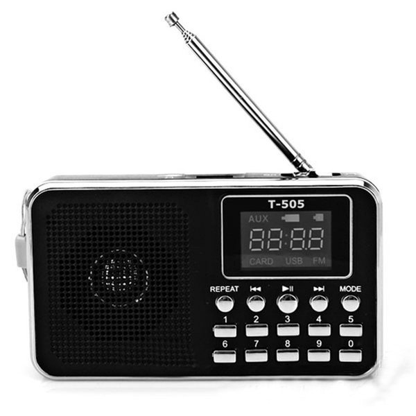 Portable Home FM Radio with LED Screen LED Light Support TF Card Universal Digital Stereo Speaker with 3.5mm Aux Jack for MP3