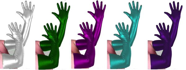 Wholesale S-XXL New Lycra Zentai&Spandex Sexy Costume Metallic Gloves