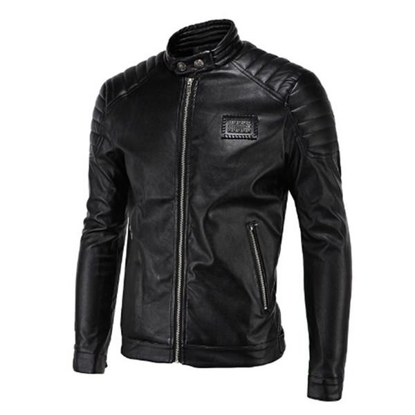 2017 Spring Leather Jackets Men Black Biker Jackets Men Quilting Shoulder Rivets Badge Patch Vintage Motorcycle
