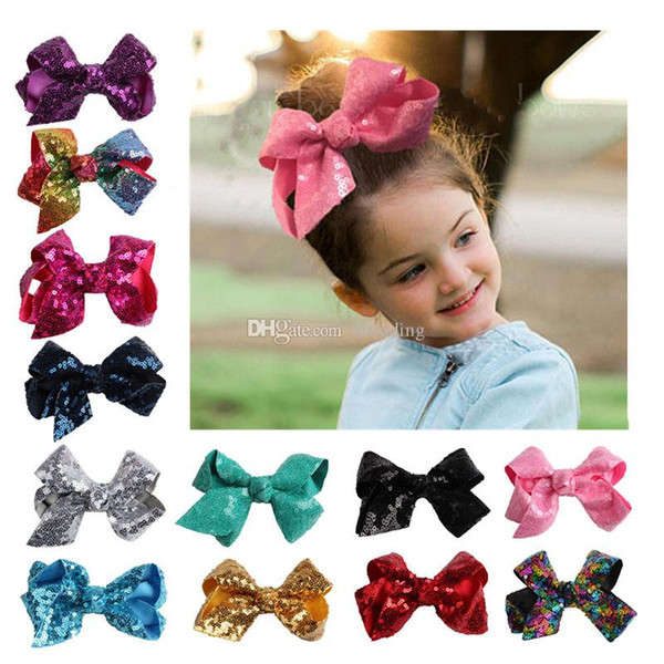 Baby Sequins Barrettes Kids Bow Hairpin cotton Hair Clip Children hair bows girls Boutique hair accessories 15 colors 10cm/4 inches C3605