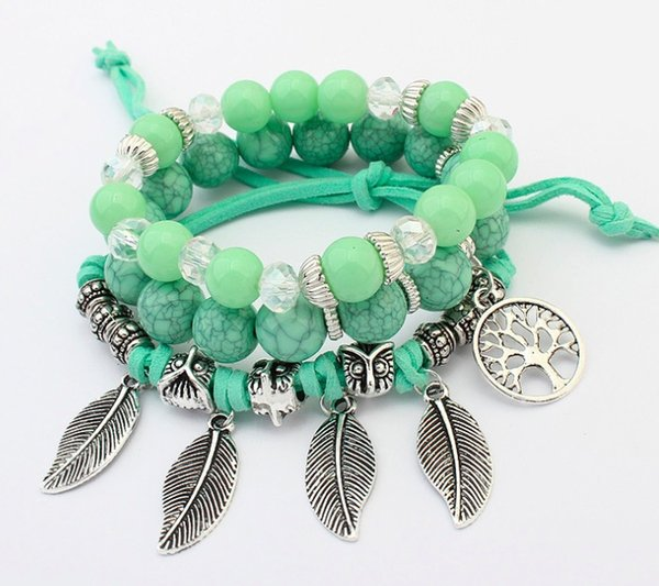 New Arrival 6 Colors Western Style Fashion Beaded Bracelets Retro Leaves by Handcraft for Women