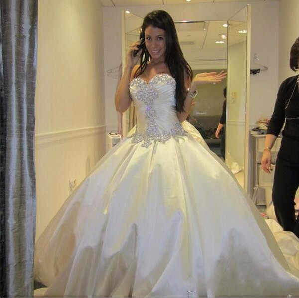 Ivory Bling Pnina Tornai Wedding Dress Sweetheart Ball Gowns Sparkly Crystal Backless Chapel Long Train Bridal Gowns Cheap Wed Dress