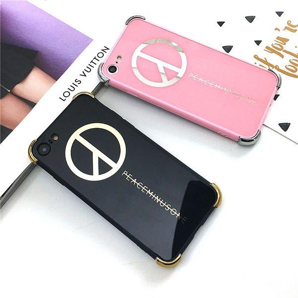 3pcs/lot Fashion Personality Bigbang G-Dragon Fans Design Peaceminusone Anti-War Case For iPhone 6 6s 7 Plus Plating Mirror Back Cover