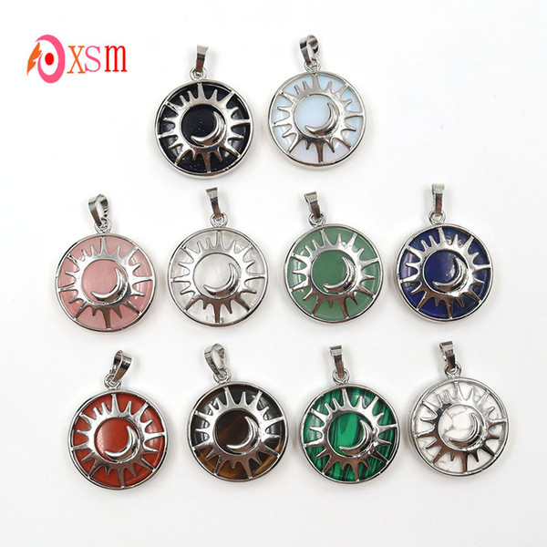 xinshangmie 1 Pcs Silver Plated Sun And Moon Pendant Reiki Healing Natural Amethysts White Crystal Quartz Charms Mascot Jewelry