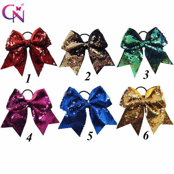7 Reversible Mermaid Sequin Cheer Bows With Ponytail Holder For Girls Kids Handmade Bling Elastic Hair Bows Hair Accessories Headwear