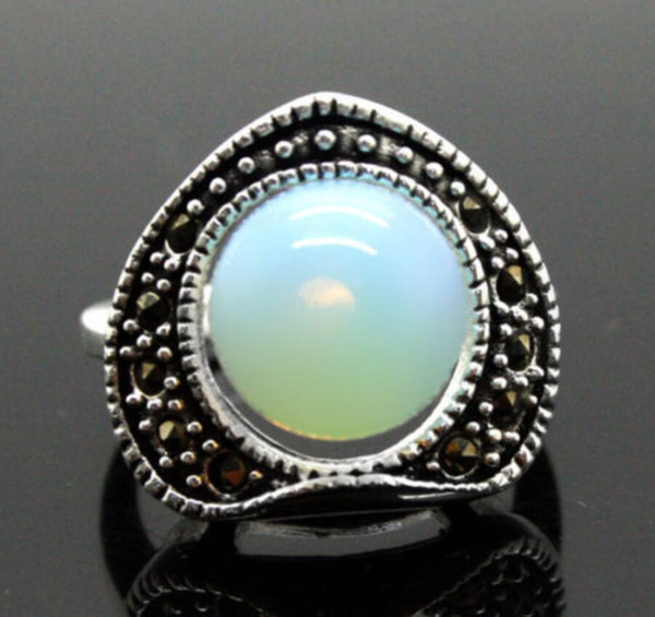 wholesale Pretty 6mm Opal Bead 13X15MM Marcasite 925 Sterling Silver Ring 7/8/9/10