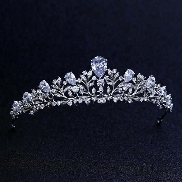 De calidad superior nupcial dama de honor de la boda Cubic Zirconia niñas blanco plateado zircon tiara corona / diadema para Prom S918