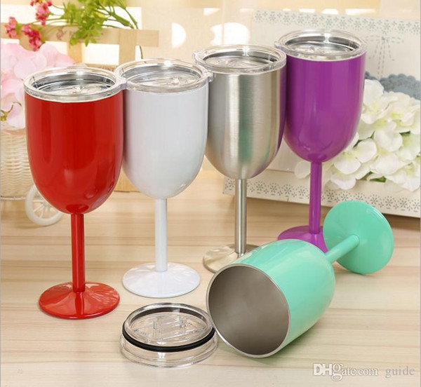 DHL Free shipping 10oz Wine Glasses Vacuum Stainless Steel Cocktail Glass Wine Goblet Glass with Lid for Daily Camping & Picnics Green