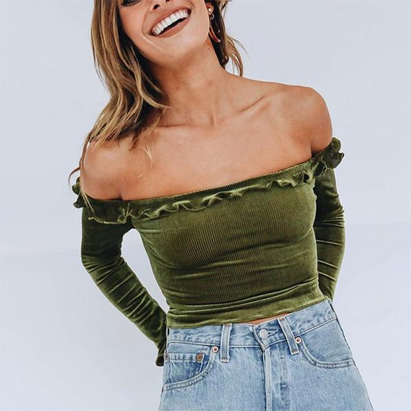 fc0f22ab45ed0 BEFORW Women Off Shoulder Sexy T-Shirts 2018 Autumn Crop Tops T Shirt  Fashion Korean