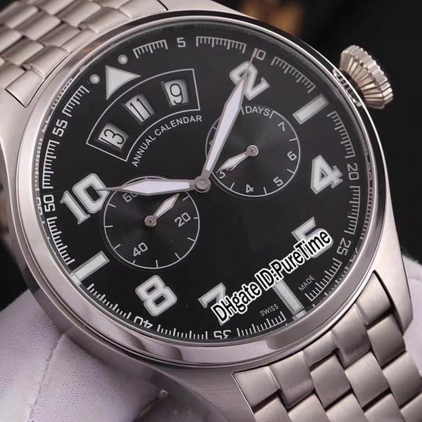 Compre Nuevo 46mm IW502701 Caja De Acero Dial Negro Fecha Grande Del Día Reloj Automático Para Hombre Correa De Acero Inoxidable Relojes Deportivos De