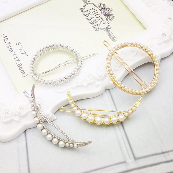 Imitation Pearl Moon Hairpins Geometric Hollow Circle Side Clip Women Gold Plated Hair Barrettes New Fashion Jewelry Wholesale Free Shipping