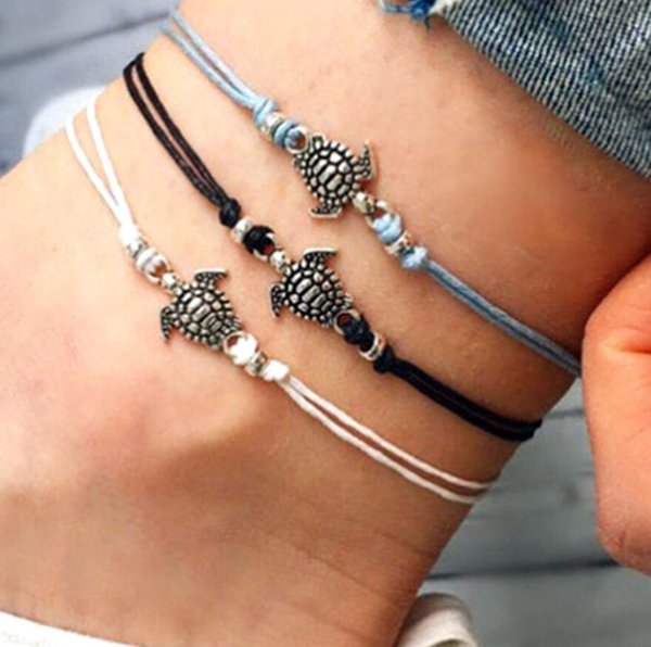 best selling Natural Sea Turtle Anklet Chain Wax Rope Cord Bracelet Boho Hippy Surf Foot Jewellery
