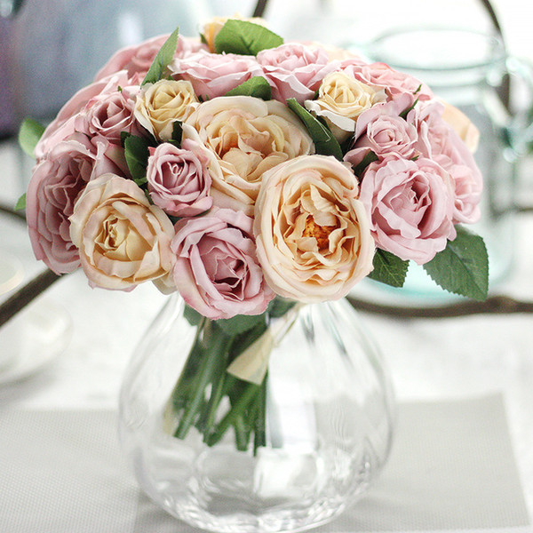 1 Bouquet 9 Heads Rose Artificial Flowers Bouquet Fake leaves Romantic 25CM Silk Flowers For Wedding Home Decoration
