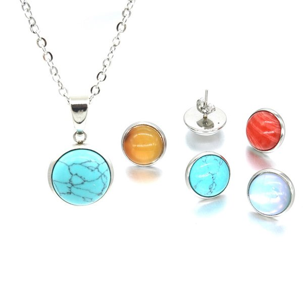 12 Colors Natural Stone Necklace Stainless Steel 12MM Round Pink opal Crystal Charms Earrings for Women Jewelry