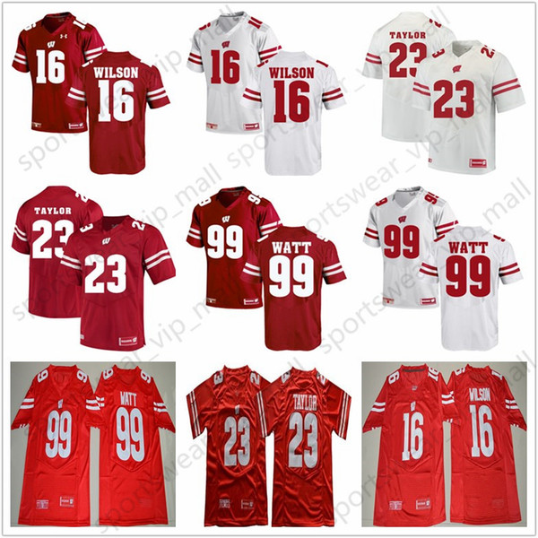 NCAA Wisconsin Badgers Jersey Universität 23 Jonathan Taylor 16 Russell Wilson 99 JJ Watt rot Genäht College Football Trikots für Männer