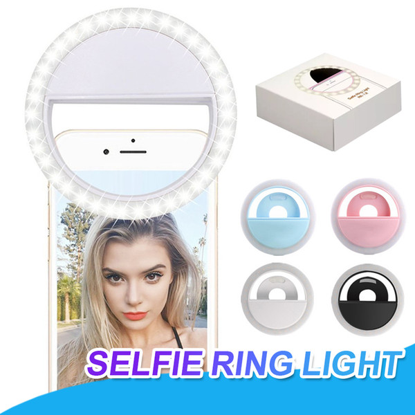 RK12 Rechargeable Universal LED Selfie Light Ring Light Flash Lamp Selfie Ring Lighting Camera Photography For iPhone X Samsung S10 Plus
