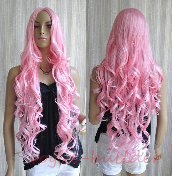 "35"" Long Pink Spiral Wavy Cosplay Party Hair Wig 5"