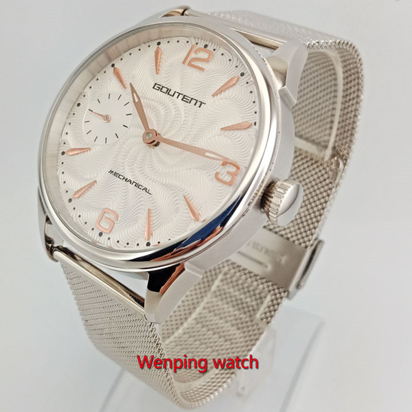 42mm Goutent Relógios de pulso branco dial discagem relógio mecânico unissex Net tecido de aço tira W2711