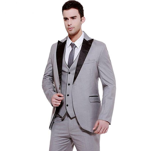 2018 Men Suits Grey Wedding Suit 3 Pieces Black Peaked Lapel Custom Made Groom Tuxedos Groomsmen Blazers Prom Clothing Evening Dress Terno
