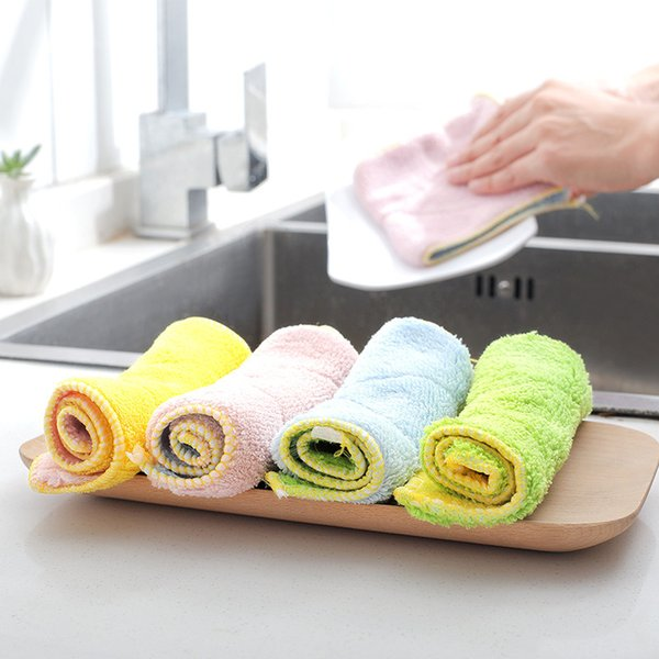 Exquisite Microfiber double sided absorbent cloth Thicken lint free oil kitchen towel Home and kitchen cleaning cloth for free shipping