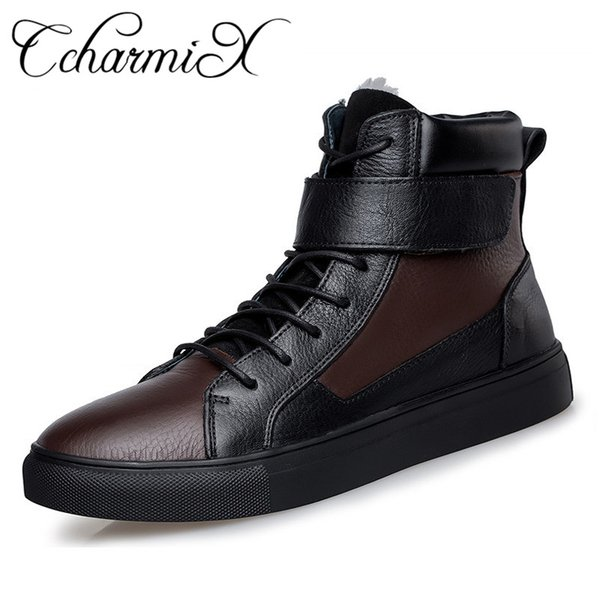 CcharmiX Winter Russian Style Men Warmest Boots Top Quality Natural Leather Snow Botas Genuine Leather Motorcycle Boot Big Size