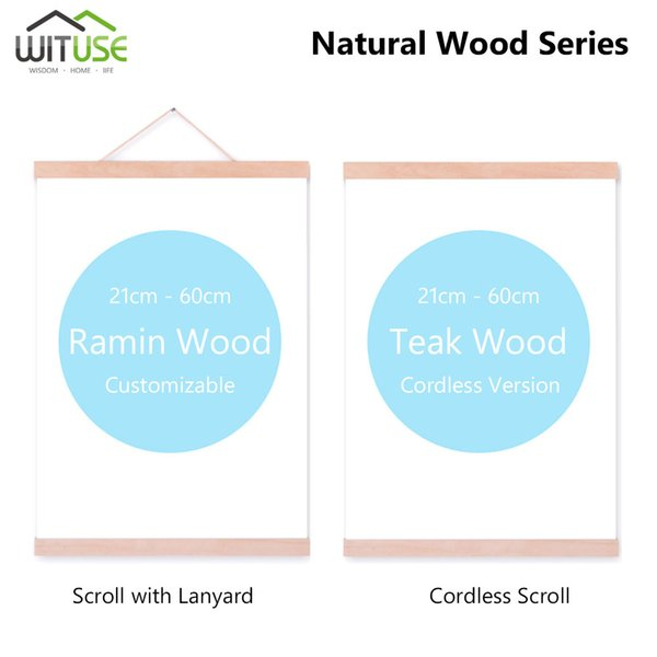 Magnetic Wooden Photo Picture Frame Modern DIY Custom Poster Scroll Prints Artwork Hanger Ramin Wood painting Axis Photo Frame