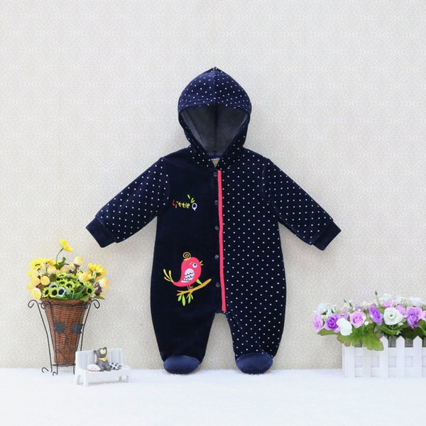 Velour Baby Rompers Long Sleeve Boys and Girls One Piece Rompers for Summer or Autumn 2018 Little Q New Style Clothing