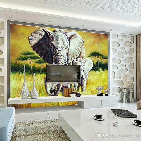 Elefanti animali murali realistici 3D Rhino / Leone / Elefante Carta da parati non tessuta Carta da parati Novità Foto carta da parati Hoom Decor