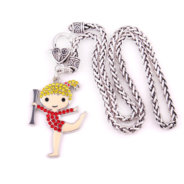New Arrival Crystal Cheerleader Cheer Gymnast Girl Charms Wheat Chain Pendant Necklace Jewelry