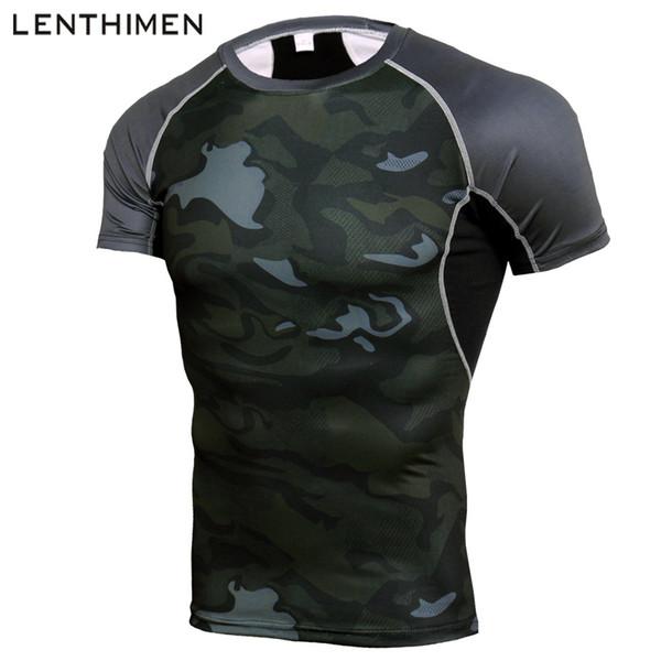 Brand Running Shirt Men Compression Tights Men's Short Sleeve T-Shirts Quick Dry Sport Jersey Gym Fitness Top Mens Rashgard Camo