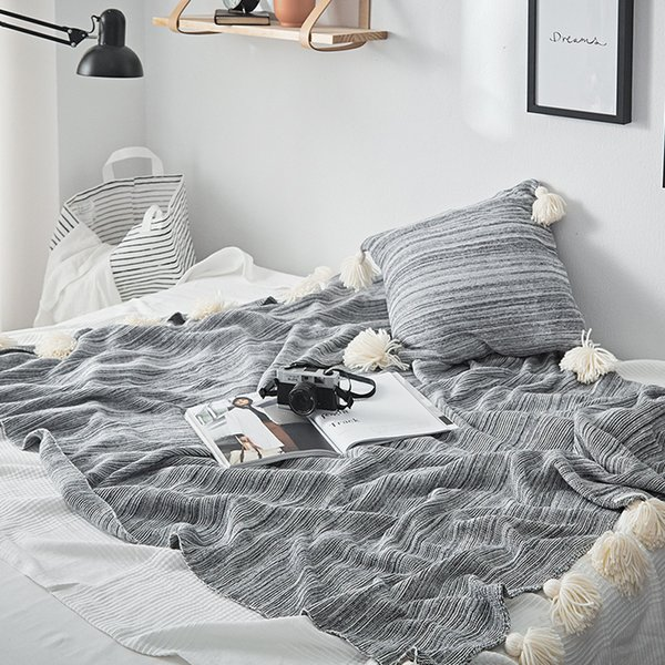 Cobertor Knitted Blanket On The Couch Cotton Throws Sofa Plane Travel  Plaids Fashion Orange Blue Grey For Bedroom White Fuzzy Blanket Black And  White ...