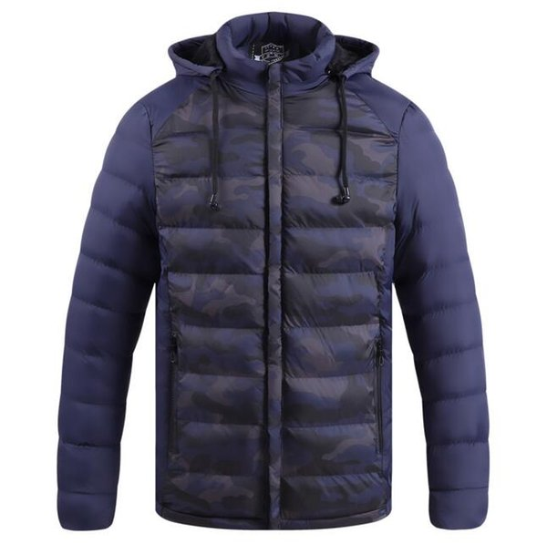 New Arrival Men Winter Down Jacket With Hood Print Camouflage Fashion Warm Coat Top Quality Male Casual Warm Jackets