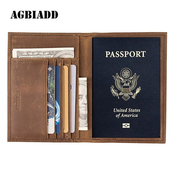 Vintage Crazy Horse Leather Passport Holders Genuine Leather Passport Covers RFID Travel Document Cover Holder 589
