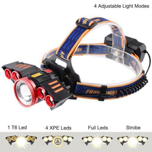 2000Lumens Sensor T6 LED Headlamp 4 Light Modes USB Rechargeable Headlight Warning Light 30W Fishing Hunting Induction Head Lamp Torch