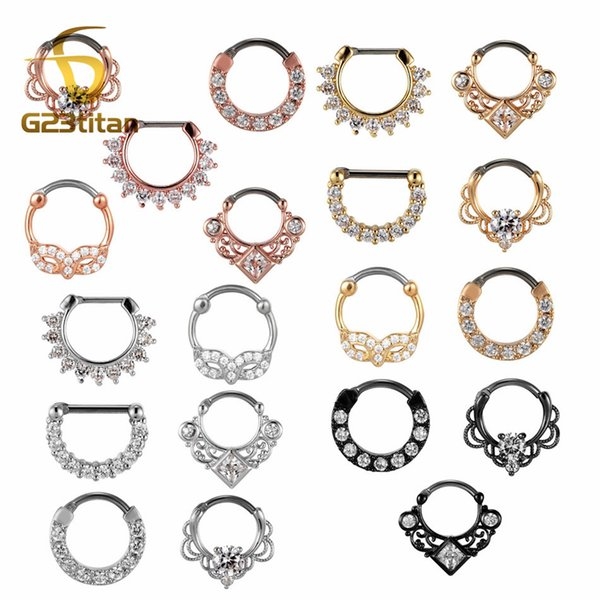 G23titan 16G Nose Piercing Ring Indian Septum Clicker Nose Rings Piercing Body Jewelry Hoops Helix Ear Cartilage Gifts
