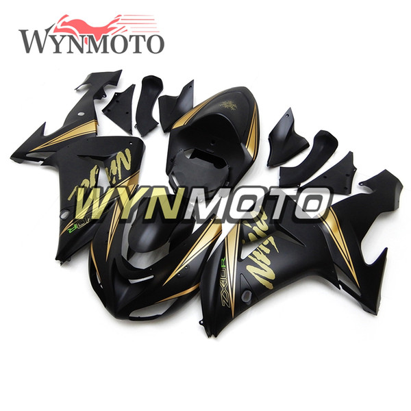 2006 Yılı Fairing 2007 Kawasaki ZX10R Kaporta ABS Enjeksiyon Yeni Panel Yüksek Kalite Karoser Yüksek Kalite 2006 2007 Mat Siyah Altın
