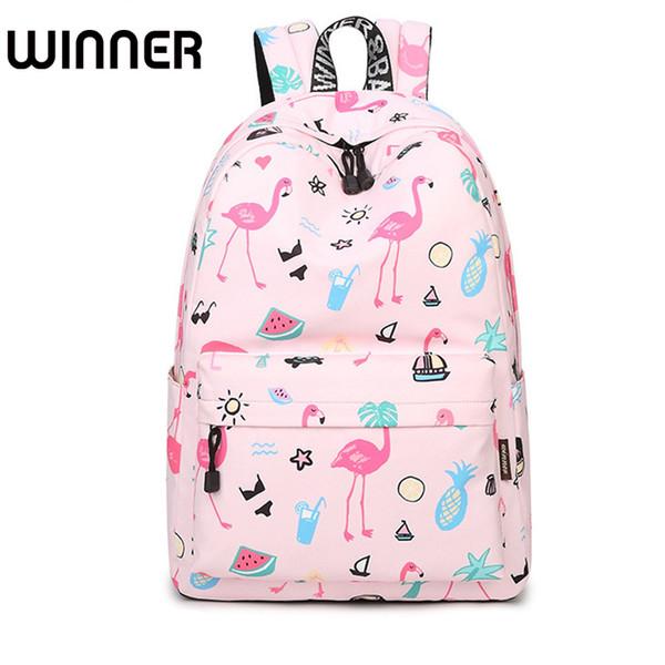 Waterproof Women Backpack Cute Bookbag Pink Flamingo Animal Knapsack Printing School Bagpack Bag for Teenage Girls Mochila Y18110201