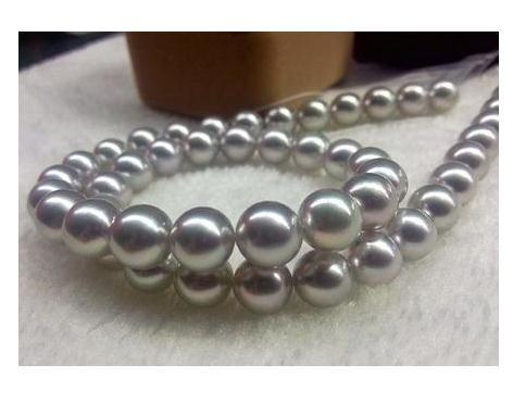 Wholesale Natural 10-11mm South Sea Silver Gray Pearl Necklace 18inch 14k Gold Clasp
